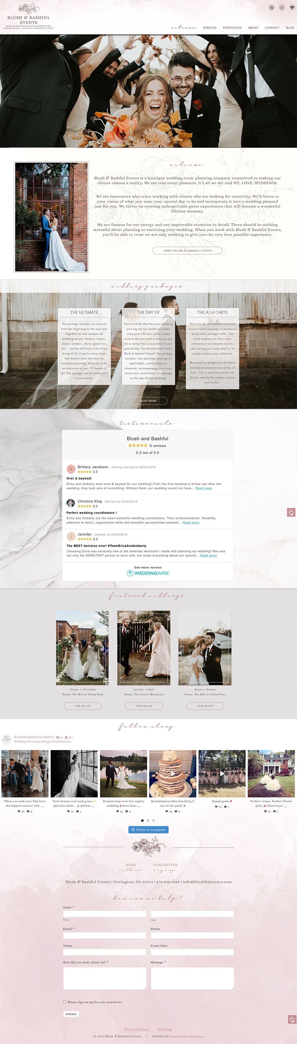 Website Design for Blush & Bashful Events - Wedding Planners – Athens GA