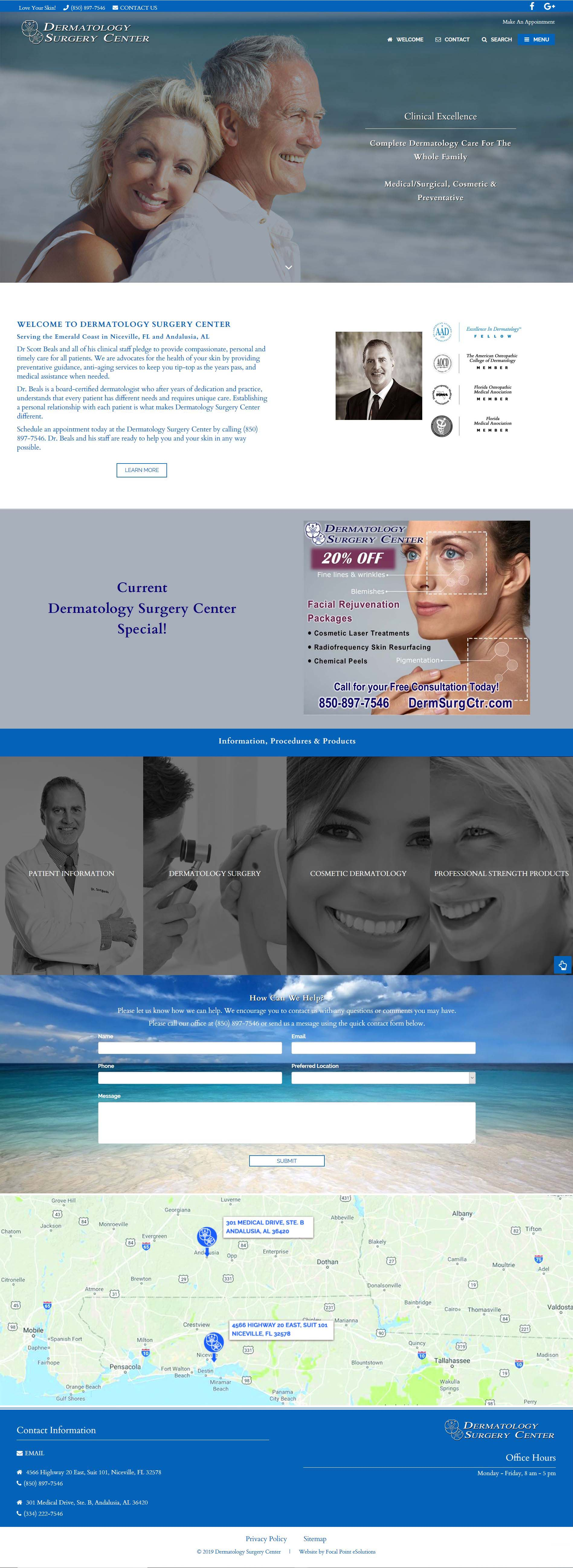 Dermatology Surgery Center Website - Niceville & Andalusia