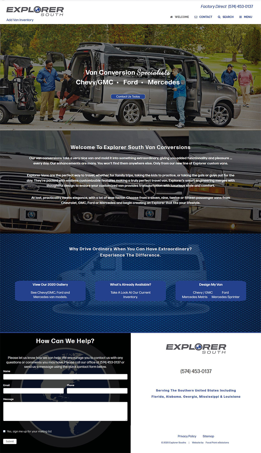 Website Launched for Explorer South Van Conversions | Serving the Southeastern United States