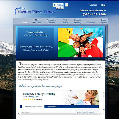 Dental Website Design: Complete Family & Aesthetic Dentistry of Lafayette CO