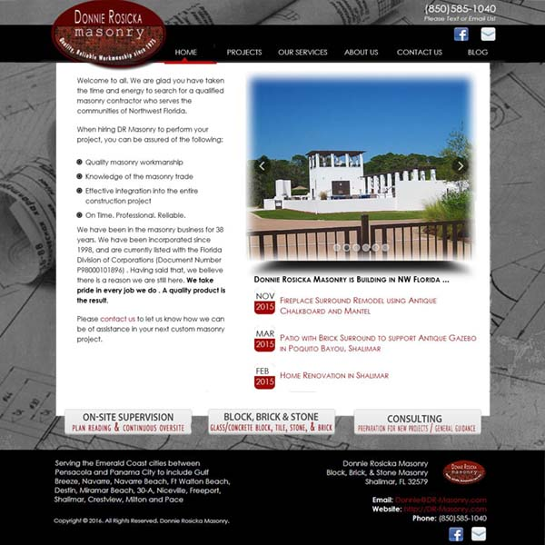 Donnie Rosicka Masonry - serving Northwest Florida