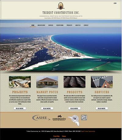 New Website Launched Trident Construction Inc of Santa Rosa Beach - Roofing Contractor Website Design