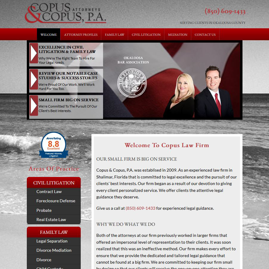 Copus Law Firm Family Law, Civil Litigaton, Mediation Shalimar, FL