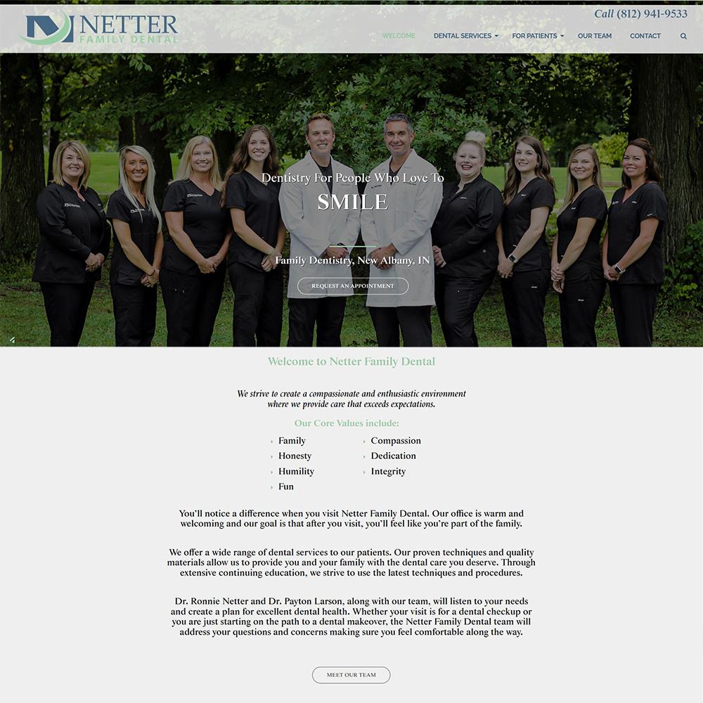 Website Design for Netter Family Dental - New Albany, Indiana