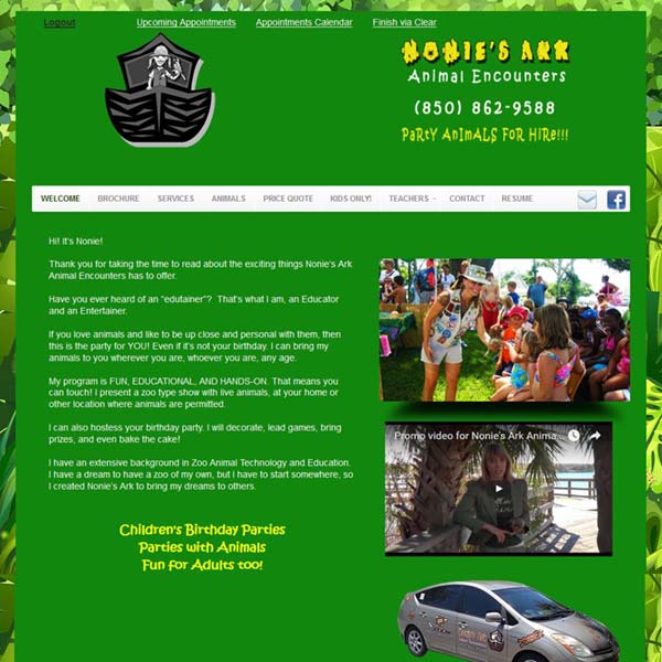Redesigned Website for Nonies Ark: Painting Parties on The Emerald Coast