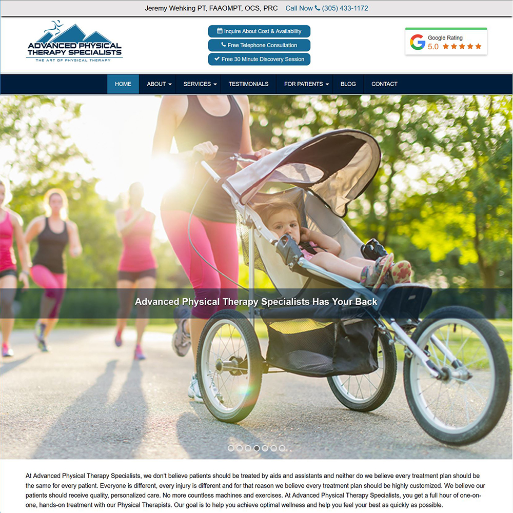 Advanced Physical Therapy Specialists: New Website